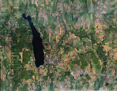 Google Satellite photo of the Village of Cazenovia